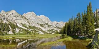 Konungflodpanorama i toppiga bergskedjan Nevada Arkivfoto