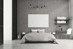 Konungformatsäng och en studie tränga någon i ett sovrum royaltyfri illustrationer