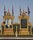KonungSihanouk minnes- stående i Phnom Phen Arkivbild