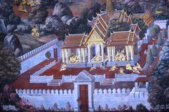 KONUNGSLOTTMÅLNING PÅ VÄGGEN I BANGKOK THAILAND Royaltyfria Foton
