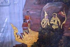 KONUNGSLOTTMÅLNING PÅ VÄGGEN I BANGKOK THAILAND Arkivbilder
