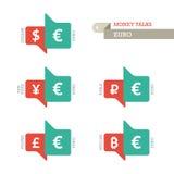 Konventionella symboler för eurodollarYen Yuan Bitcoin Ruble Pound valuta på uppåt- och neråt tecken Arkivbild