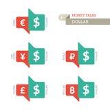 Konventionella symboler för eurodollarYen Yuan Bitcoin Ruble Pound valuta på uppåt- och neråt tecken Royaltyfria Bilder