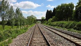 Konvergerande järnvägsspår som passerar under en bro Royaltyfria Bilder
