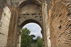 Konvergerande väggar av Roman Coliseum Arkivfoton