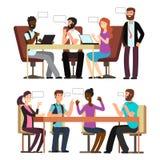 Konversation för affärsfolk i affärslägen i regeringsställning royaltyfri illustrationer