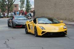 Konvertierbares Auto Lamborghinis Gallardo auf Anzeige stockfotos