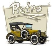 Konvertierbares Luxusauto der Retro- Weinlese der Karikatur lizenzfreie abbildung