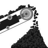 Konwejeru pasek z węglem Zdjęcie Royalty Free