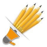 Konwertyta ołówków megafon ilustracja wektor