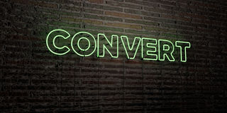 KONWERTYTA - Realistyczny Neonowy znak na ściana z cegieł tle - 3D odpłacający się królewskość bezpłatny akcyjny wizerunek ilustracja wektor