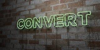 KONWERTYTA - Rozjarzony Neonowy znak na kamieniarki ścianie - 3D odpłacająca się królewskości bezpłatna akcyjna ilustracja royalty ilustracja