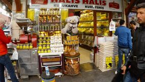 Bears toys interpreting coffee beans in street market shops in the center of the Turkish city stock video