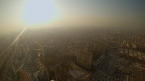 Bright sun over a smoky city view from a skyscraper height. KONYA / TURKEY - 11.20.2016 central streets of the ancient Turkish city stock video