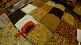 A huge variety of spices in the Turkish bazaar in the center of Sufism, the city of Konya. KONYA / TURKEY - 11.20.2016 central streets of the ancient Turkish stock video footage