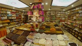 A huge variety of spices in the Turkish bazaar in the center of Sufism, the city of Konya. KONYA / TURKEY - 11.20.2016 central streets of the ancient Turkish stock footage