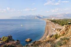 Konyaalti海滩在安塔利亚在土耳其 图库摄影