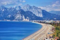 Konyaalti海滩,安塔利亚 免版税库存图片