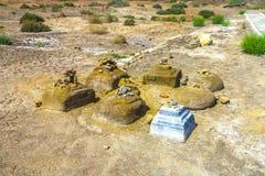 Konye Urgench ordnade beställde stenar arkivfoton