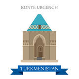 Konye-Urgench in Turkmenistan attraction travel landmark. Konye-Urgench in Turkmenistan. Flat cartoon style historic sight showplace attraction web site vector Royalty Free Stock Photos