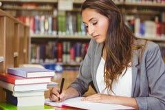 Konzentration des Brunettestudenten, der ihre Aufgabe tut Lizenzfreie Stockbilder