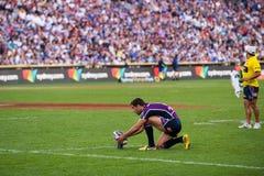 Konzentrieren auf die Gatter im Rugby Lizenzfreies Stockfoto