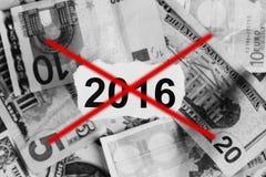 Konzentrieren Sie sich auf die Wörter 2016 auf Stück heftigem Weißbuch mit USDdo Lizenzfreies Stockbild