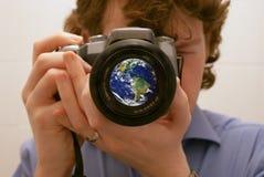 Konzentrieren Sie sich auf die Welt Stockbild