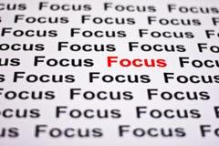 Konzentriert auf Fokus Stockfoto