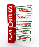 Konzept 3d des Seo Search Engine Optimierungsplanes Stockbild