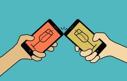 Konzept, beglückwünschen mit intelligenten telefonischen Mitteilungen Versehen Sie mit Di Lizenzfreie Abbildung