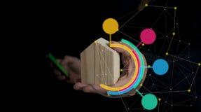Konzept contruction, Kaufen, Sicherheit, intelligentes Haupt- und finanziell lizenzfreie stockbilder