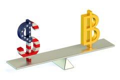 Konzept 3D Dollar oder Bitcoin, Währungspaar USDs BTC Lizenzfreies Stockbild