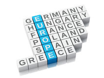 Konzept 3d Europa Kreuzworträtsel mit Buchstaben Lizenzfreies Stockfoto