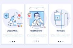 Konzept der ärztlichen Behandlung Fernmedizin Medizinische on-line-Beratung Spritze und Bewurf Medizinische Infusion GUI-Schirm U lizenzfreie abbildung