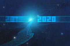 Konzept der Ankunft einer neuen Ära der künstlichen Intelligenz ab 2020 und seiner Auswirkung auf das Universum vektor abbildung