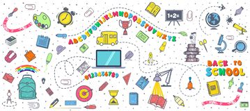 Konzept der Ausbildung Schulhintergrund mit Hand gezeichnetem Schulbedarf Alphabet und Zahlen Zurück zu Schulbeschriftung stock abbildung