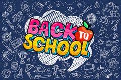 Konzept der Ausbildung Schulhintergrund mit Handgezogenem Schulbedarf und komischer Spracheblase lizenzfreie abbildung