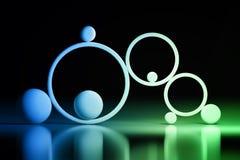 Konzept der Balance mit Bällen und Ringen stock abbildung