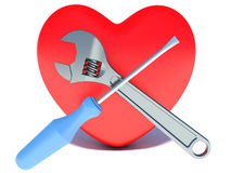 Konzept der Behandlung der Herzkrankheit Herz, Schlüssel Stockfotografie