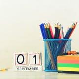 Konzept der Bildung, September erster oder zurück zu Schule w Lizenzfreie Stockbilder