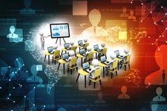 Konzept der Bildung und des Lernens, Darstellung Lächelnder Geschäftsmann unter Verwendung des Laptop cmputer am Schreibtisch und Lizenzfreies Stockfoto
