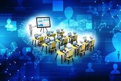 Konzept der Bildung und des Lernens, Darstellung Lächelnder Geschäftsmann unter Verwendung des Laptop cmputer am Schreibtisch und Stockfoto