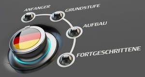 Konzept der deutschen Sprachkurse, des Lernens und der Bildung Lizenzfreie Stockfotografie