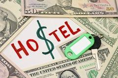 Konzept der Einsparung - Herberge billiger als Hotel Stockfotografie