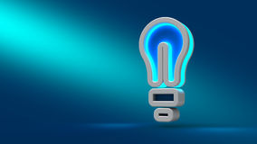Konzept der erfolgreichen Idee spornte durch Birnenform auf blauem Hintergrund an Stockbild