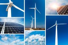 Konzept der erneuerbarer Energie und der stützbaren Betriebsmittel - Fotocollage stockfotos