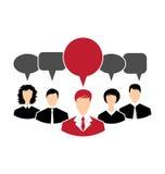 Konzept der Führung, Dialogspracheblasen lizenzfreie abbildung