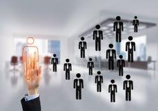 Konzept der Führung und des Teamworkings mit vielen Ikonen und eine von ihnen heraus stehend Stockfotografie