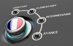 Konzept der französischen Sprachkurse, des Lernens und der Bildung Lizenzfreies Stockfoto